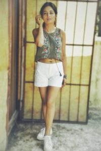 white cotton shorts with a cute boho khaki top
