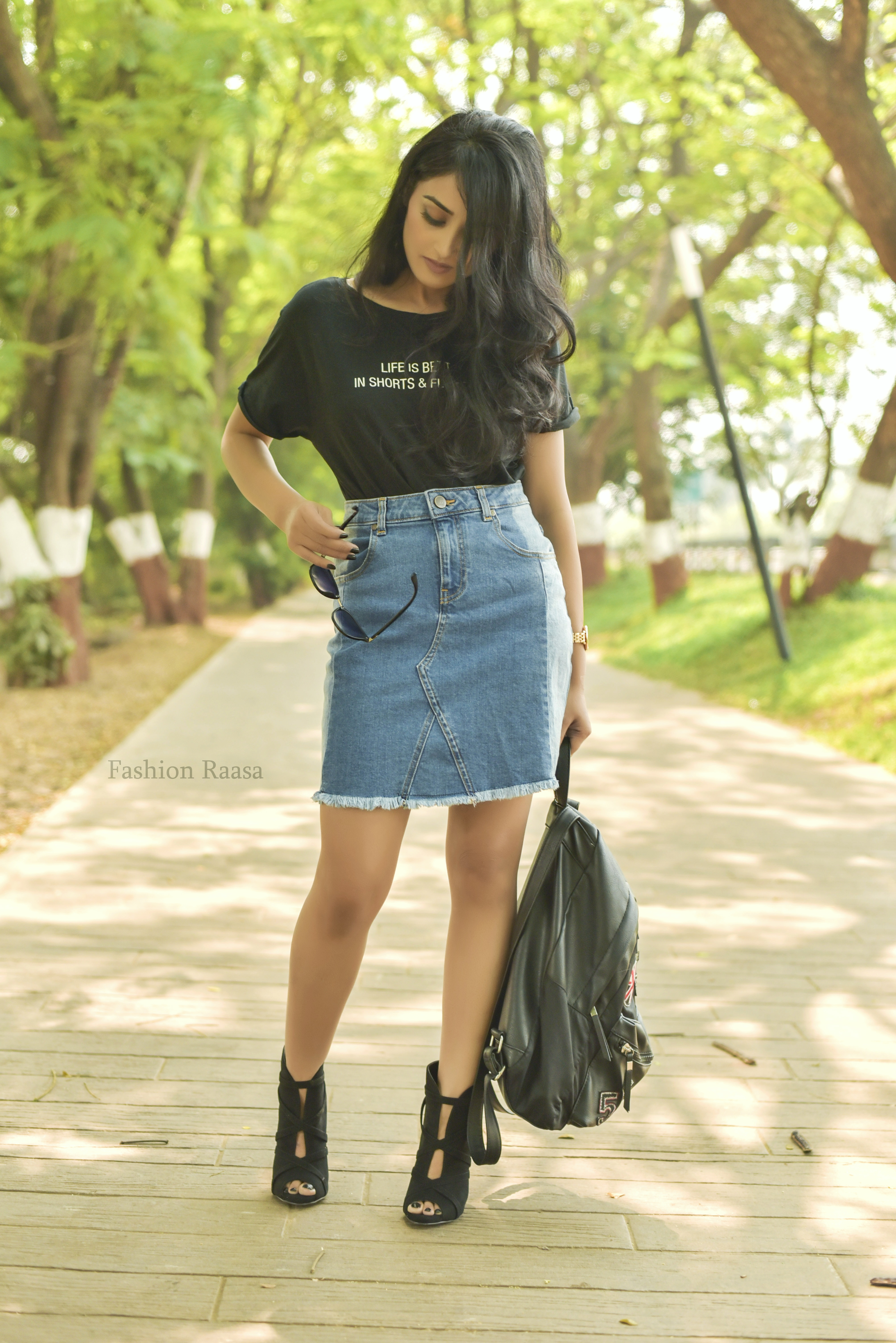 blue denim skirt with a black tee or black crop top