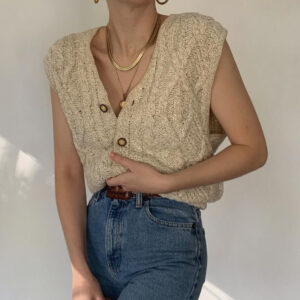 Cable net cardigan